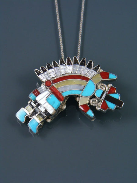 Mother of Pearl Zuni Rainbow Dancer Pin/Pendant