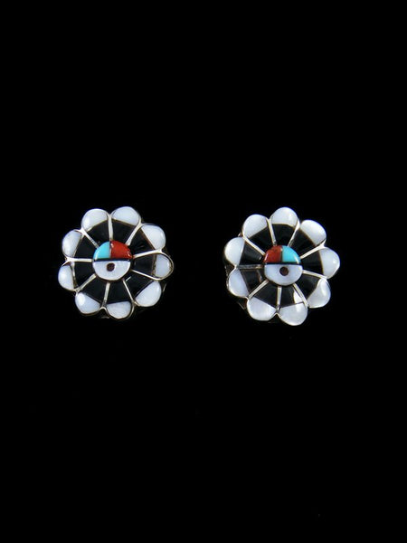 Zuni Inlay Sunface Mother of Pearl Post Earrings