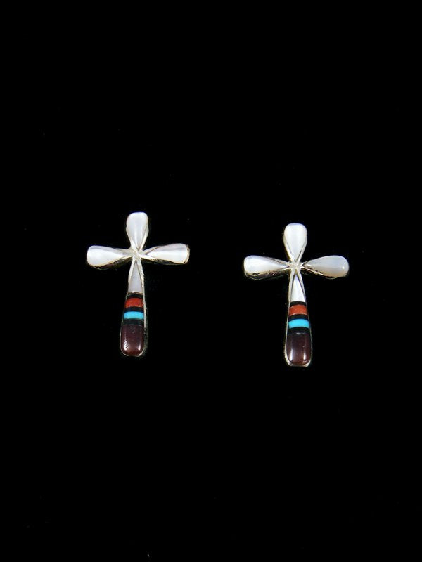 Mother of Pearl Zuni Inlay Cross Earrings