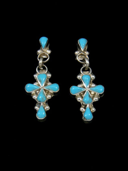 Zuni Turquoise Cross Post Earrings