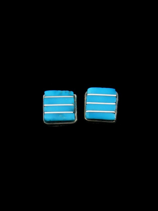 Native American Indian Jewelry Zuni Inlay Turquoise Post Earrings