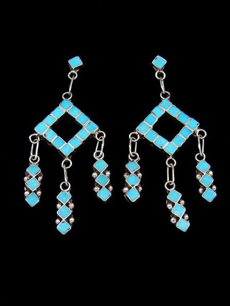 Zuni Turquoise Inlay Post Earrings