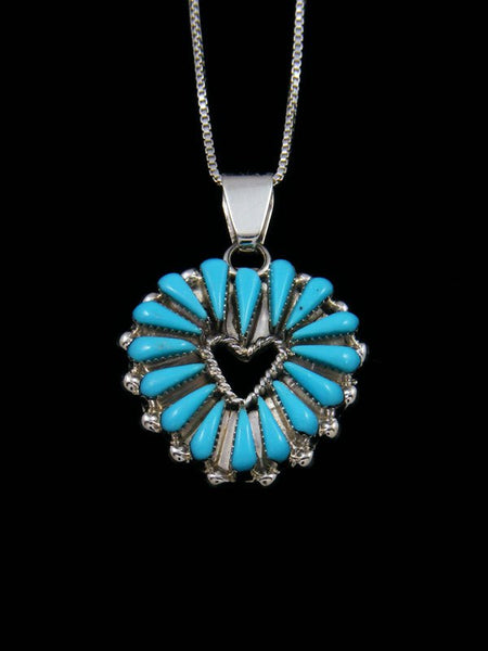 Zuni Sterling Silver Turquoise Heart Pendant