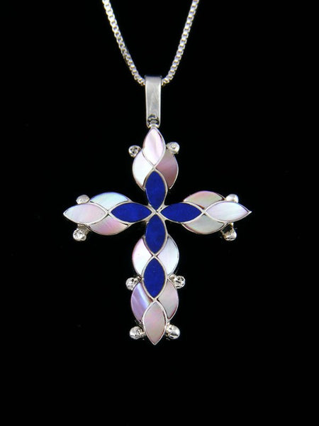 Sterling Silver Zuni Inlay Mother of Pearl Cross Necklace Pendant