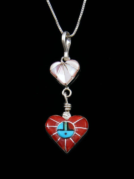 Native American Sterling Silver Zuni Inlay Heart Pendant