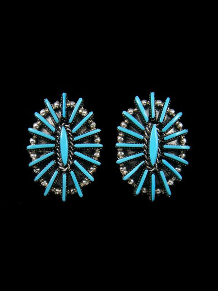 Sterling Silver Zuni Needlepoint Turquoise Post Earrings