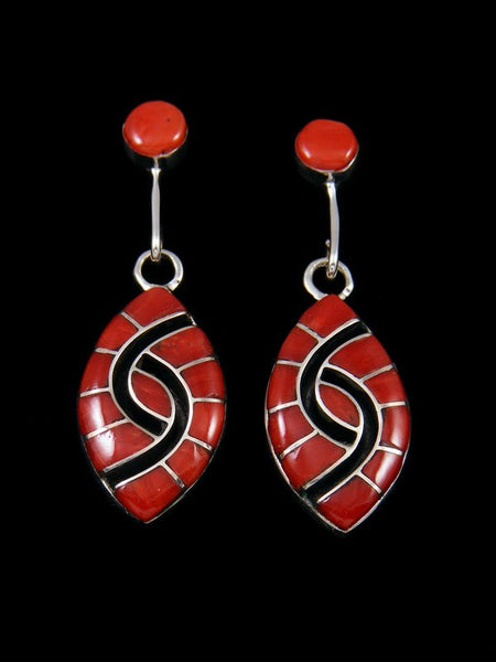 e137219dc Sterling Silver Zuni Coral Inlay Earrings