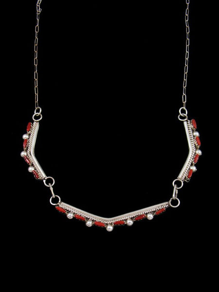Native American Zuni Coral Necklace Choker