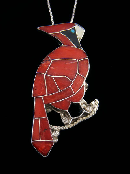 Sterling Silver Zuni Inlay Red Cardinal Pendant