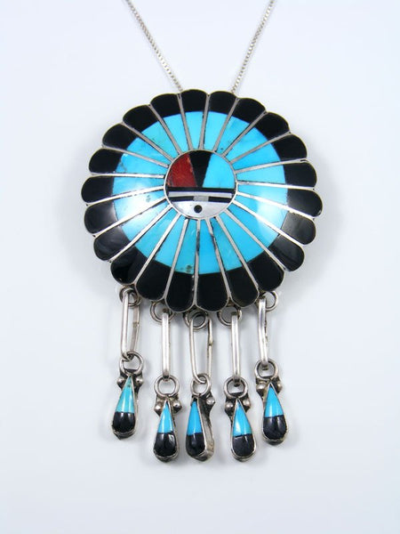 Native American Zuni Inlay Turquoise Sunface Pin Pendant
