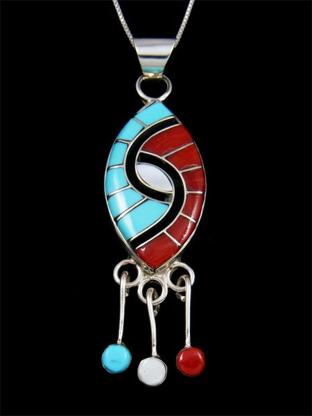 Turquoise and Coral Sterling Silver Zuni Inlay Pendant