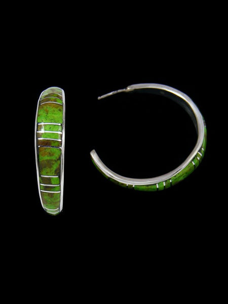 Gaspeite Zuni Inlay Half Loop Post Earrings