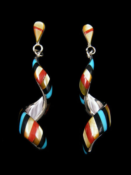 Zuni Inlay Mother of Pearl Spiral Post Earrings