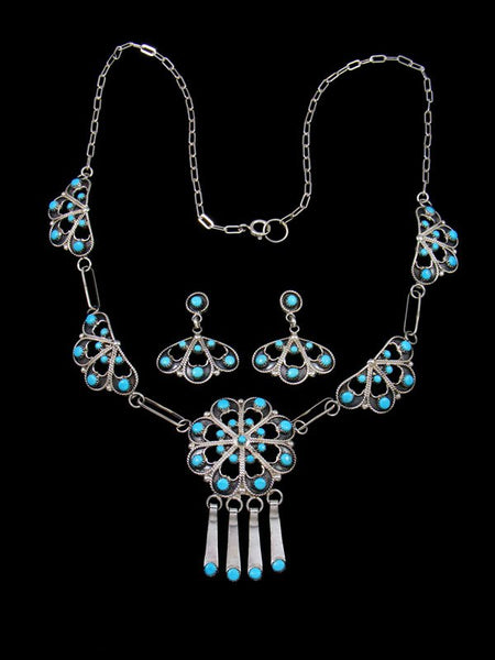 Native American Turquoise Necklace and Earring Set