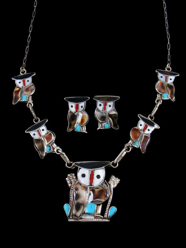 Zuni Inlay Penn Shell Dangle Owl Necklace Earring Set