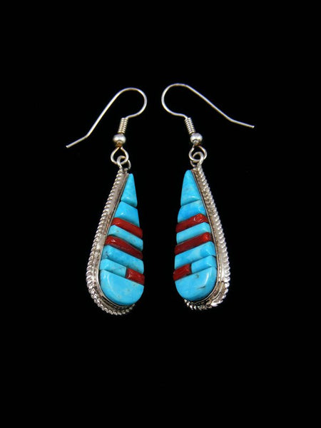 Zuni Indian Turquoise and Coral Inlay Reversible Dangle Earrings