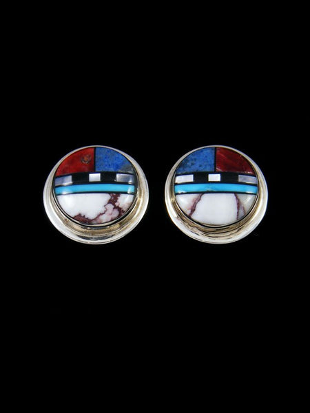 Sterling Silver Zuni Inlay Turquoise Post Earrings