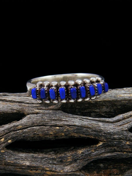 Sterling Silver Zuni Lapis Ring, Size 6 1/2