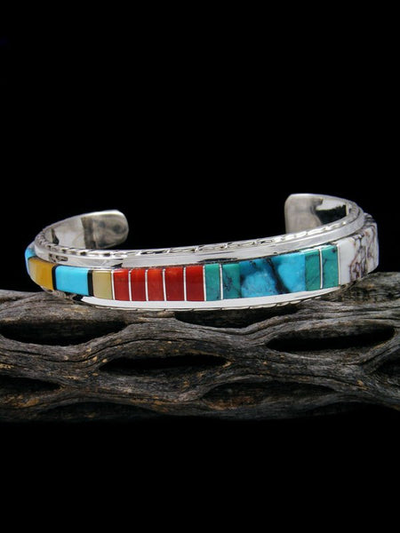 Zuni Turquoise and Coral Inlay Sterling Silver Cuff Bracelet