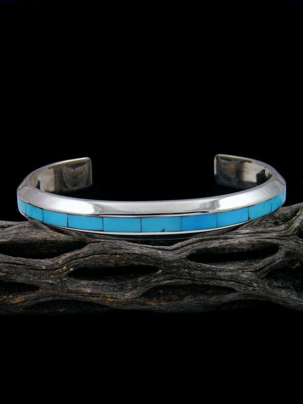 Native American Sterling Turquoise Zuni Inlay Cuff Bracelet