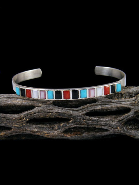 Native American Sterling Turquoise and Coral Inlay Cuff Bracelet