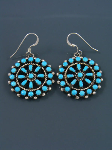 Native American Indian Jewelry Turquoise Dangle Zuni Earrings