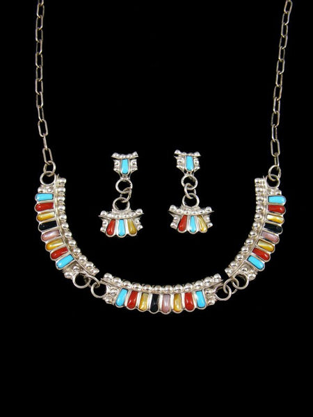 Native American Turquoise and Coral Necklace and Earring Set