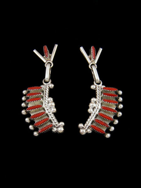 Native American Indian Jewelry Coral Post Zuni Earrings