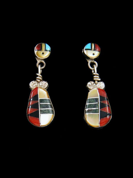 Sterling Silver Zuni Inlay Mother of Pearl Post Earrings