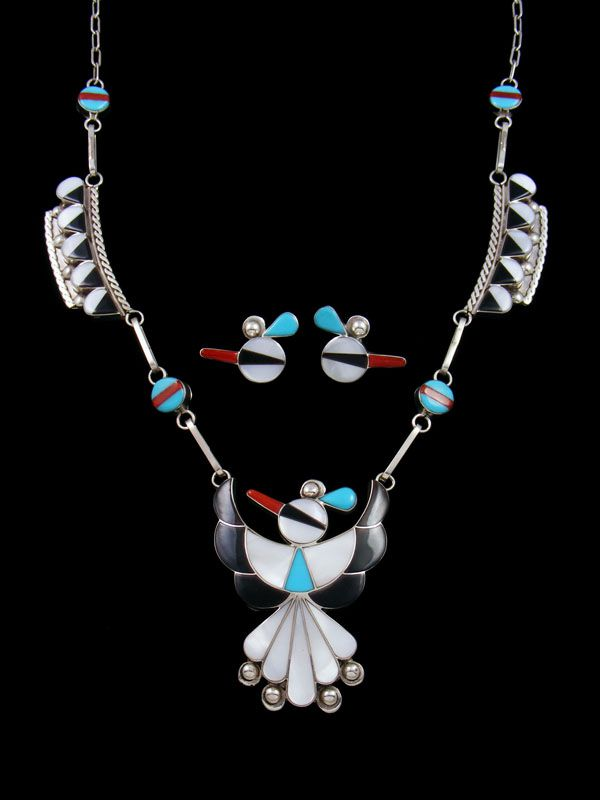 Sterling Silver Native American Zuni Inlay Thunderbird Necklace Set