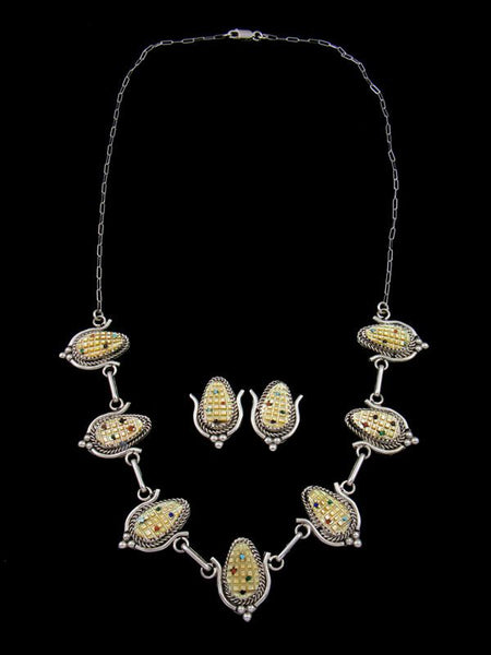 Mother of Pearl Sterling Silver Zuni Corn Necklace and Earrings Set