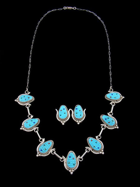 Turquoise Sterling Silver Zuni Corn Necklace and Earrings Set