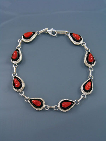 Native American Zuni Carved Coral Inlay Link Bracelet