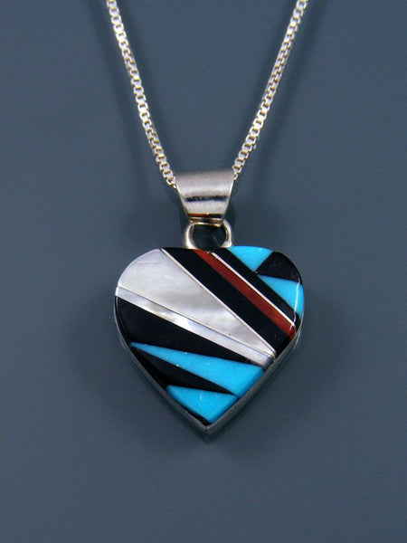 Native American Turquoise Zuni Inlay Heart Pendant