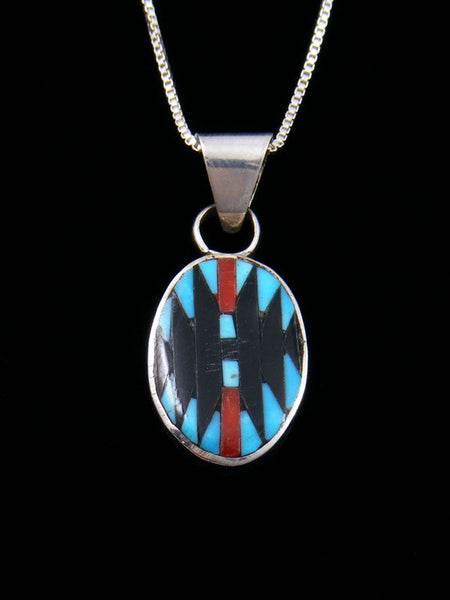 Native American Turquoise Zuni Inlay Rug Pattern Pendant