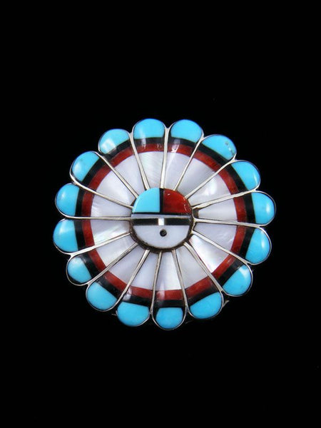 Mother of Pearl Sterling Silver Zuni Sunface Pin