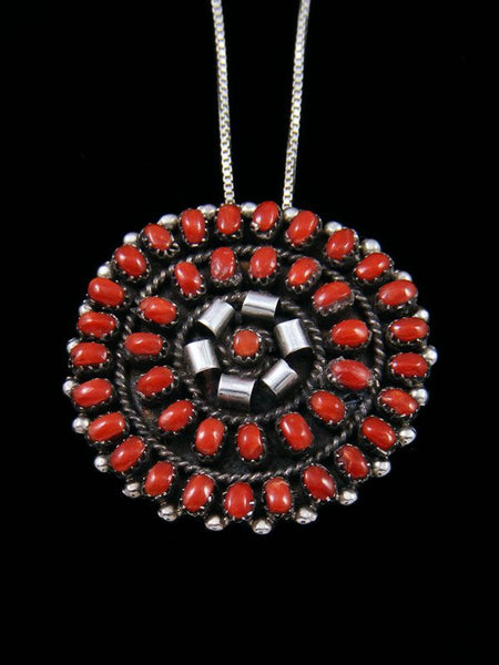 Coral Cluster Sterling Silver Zuni Pin Pendant