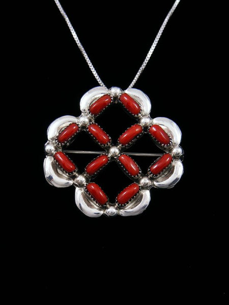 Coral Cluster Sterling Silver Zuni Pin/Pendant