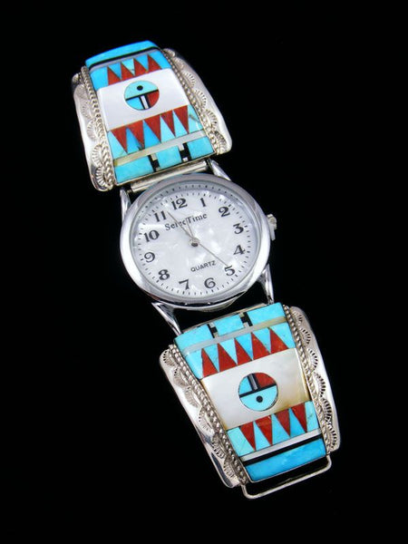 Native American Jewelry Zuni Turquoise Inlay Mens Watch