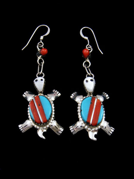 Sterling Silver Zuni Inlay Turtle Dangle Earrings