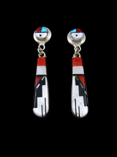 Native American Zuni Sterling Inlay Post Heart Inlay Pink Shell Earrings Willie
