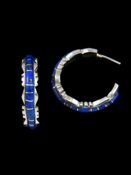 Zuni Lapis Inlay Half Loop Earrings