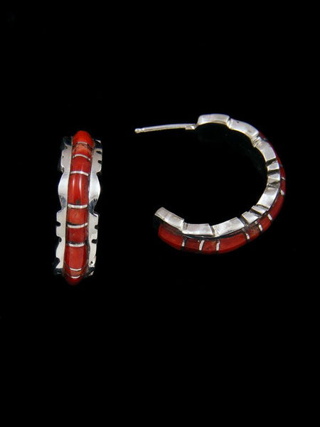 Zuni Coral Inlay Half Hoop Earrings