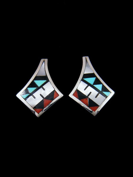 Sterling Silver Zuni Inlay Post Earrings