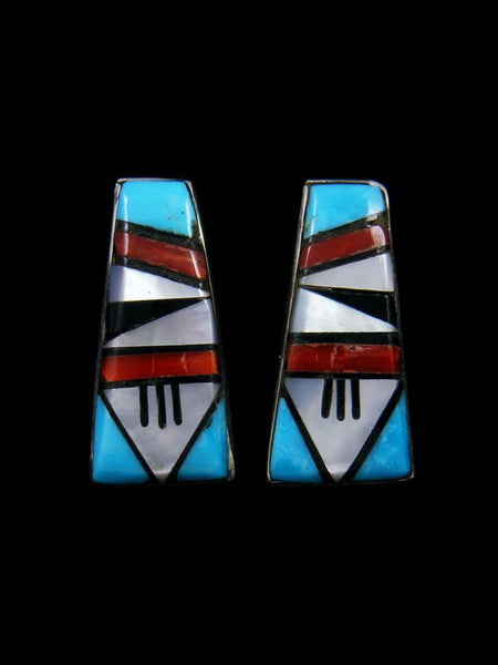 Zuni Inlay Sterling Silver Post Earrings