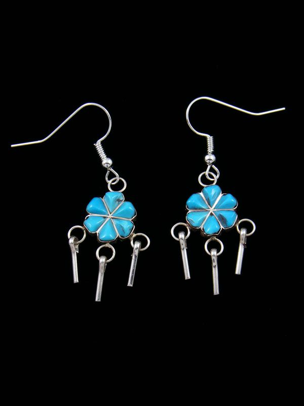 Zuni Sterling Silver Turquoise Dangle Flower Earrings