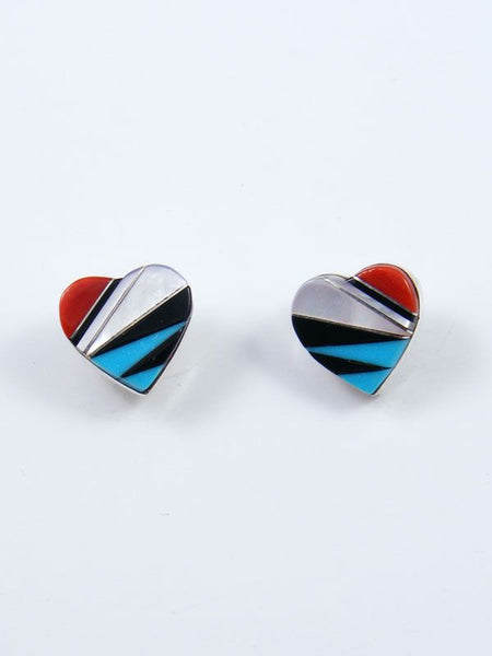 Native American Zuni Inlay Heart Post Earrings