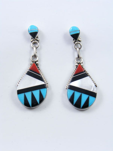 Native American Indian Jewelry Zuni Inlay Post Earrings