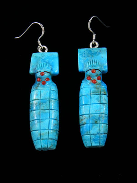 Turquoise Maiden Zuni Fetish Dangle Earrings