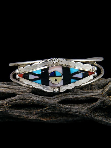 Native American Jewelry Zuni Inlay Sunface Cuff Bracelet